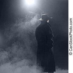 il portare, standing, donna, cappotto, trincea, nebbia