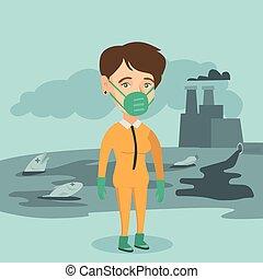 il portare, suit., scienziato, radiazione, protezione