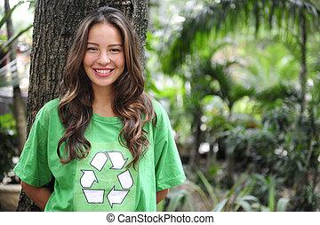 il portare, t-shirt, ambientale, attivista, foresta, riciclare