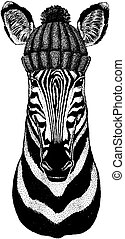 il portare, t-shirt, cavallo, inverno, distintivo, berretto, beanie, logotipo, emblema, lavorato maglia, riscaldare, zebra, animale, hat., acconciatura, pezza, natale, tatuaggio, fresco
