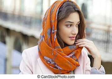 il portare, testa, donna, musulmano, su, giovane, chiudere, ritratto, sciarpa