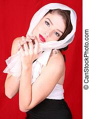 il portare, testa, donna, sciarpa, lei