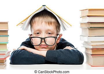 il portare, testa, suo, stanco, libro, ritratto, scolaro, occhiali