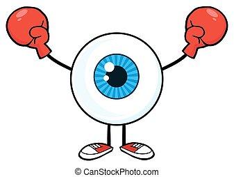 il portare, tipo, bulbo oculare, guanti, pugilato