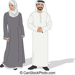 il portare, tradizionale, coppia, musulmano