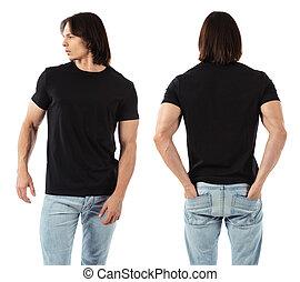il portare, uomo, nero, camicia, vuoto