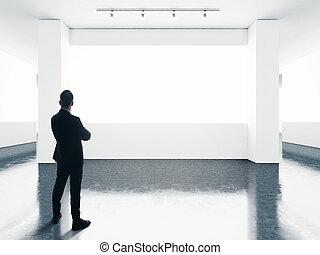 il portare, vuoto, completo, uomo, contemporaneo, schermo, gallery., dall'aspetto