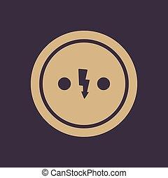 il, presa corrente elettrica, icon., presa, simbolo., appartamento