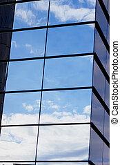 il, riflessione, di, il, cielo, rispecchiato, costruzione