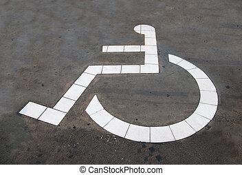 il, riservato, parcheggio, per, handicappato, isolato, su, pavimento cemento, fondo