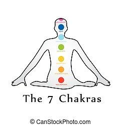 il, sette, chakras, con, loro, nomi