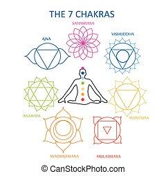 il, sette, chakras, di, il, corpo umano, con, loro, nomi