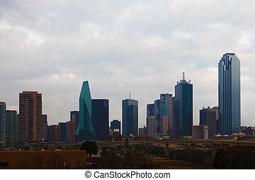 il, skyline de dallas, in, inizio mattina