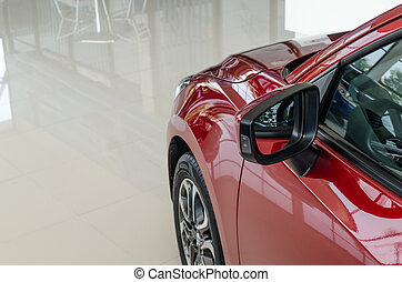 il, specchio ala, di, uno, macchina rossa, nuovo, in, mostrare stanza