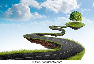 il, strada, a, albero