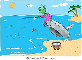 il, straniero, prese, fish, seduta, su, il, scontrato, volare, saucer.