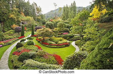 il, sunken-garden, su, isola, vancouver
