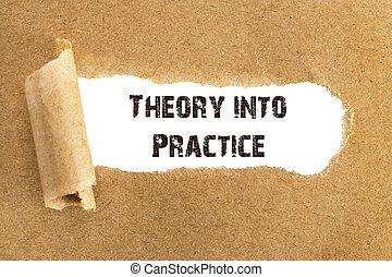 il, testo, teoria, in, pratica, apparire, dietro, strappato, carta da pacchi