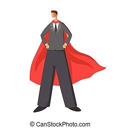 il, uomo affari sta piedi, con, mantello rosso, o, cape., affari, superhero, vettore, illustrazione, isolato, bianco, fondo.