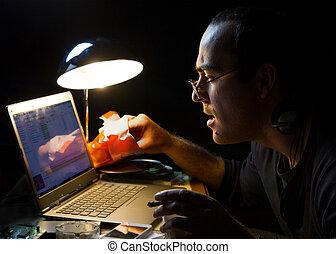 il, uomo, davanti, uno, schermo calcolatore, notte