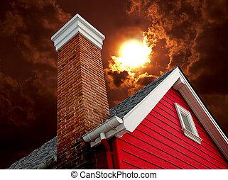 il, vecchio, casa, con, camino, su, sfondo sole