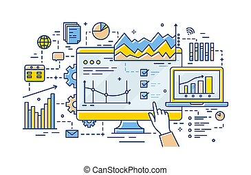 il, vecteur, linéaire, pointage, diagrammes, graphs., résultats, illustration, diagrammes, business, analytics, analyste informatique, analyse, statistique, exposer, main, données, style., statistics.