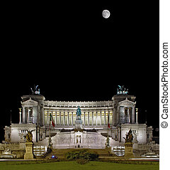 Great Rome monument (wedding cake) at black sky and moon background