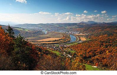 Ilava - city in Slovakia - Autumnal landscape with village ...
