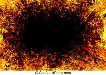 ild, flamme, hos, smoke.