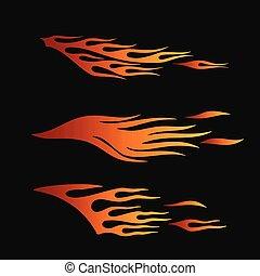 ild, flammer, ind, stamme, firmanavnet, by, tatovering, køretøj, og, t-shirt, dekoration, design., køretøj, grafik, stribe, vinyl, klar, samling, sæt