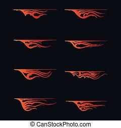 ild, flammer, ind, stamme, firmanavnet, by, tatovering, køretøj, og, t-shirt, dekoration, design., køretøj, grafik, stribe, vinyl, klar, vektor, kunst