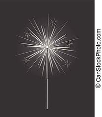 ild, isoleret, lys, bengalen, fyrværkeri, sparkler