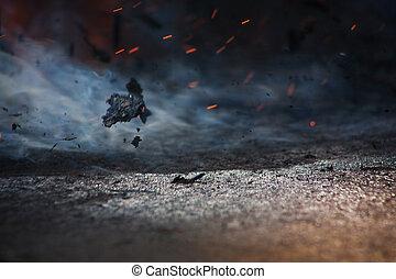 ild, og, aske, på, vind