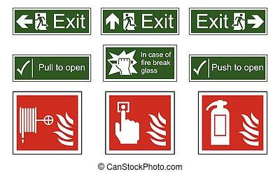 ild, og, nødsituation udgang, tegn