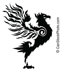 ild, oppe, stærke, fugl, stand