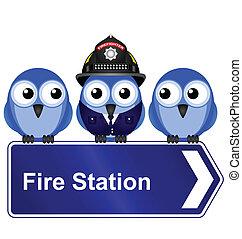 ild station, tegn