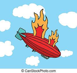 ild, stor, /, fiasko, zeppeliner, fald