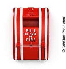 ild, trække, alarm, station