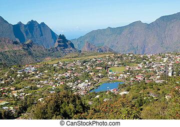 Ile de La Reunion - Cilaos aerial view of reunion island