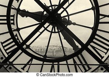 ile, reloj, de, parís, francia, francia, montmartre, vista