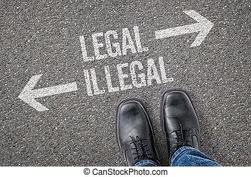 ilegal, decisão, -, legal, crossroad, ou