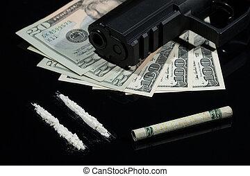ilegal, drogas, dinero, y, armas de fuego