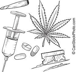 ilegal, drogas, objetos, bosquejo