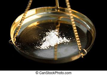 ilegal, pesar, substância, branca, sendo