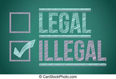 ilegal, selección, marca de verificación