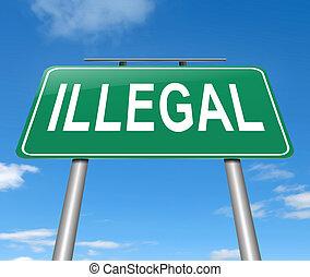 ilegal, signo., concepto