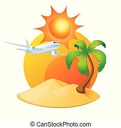 ilha, árvore, isolado, palma, sol, branca