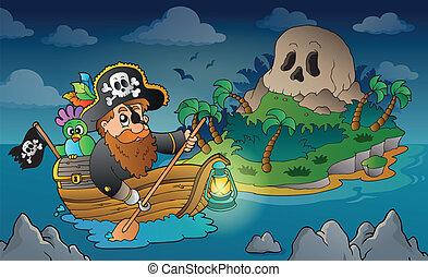 ilha, 3, tema, cranio, pirata