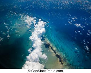 ilha, aéreo, caraíbas, corrente, vista