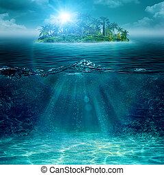 ilha, abstratos, fundos, ambiental, oceânicos, sozinha